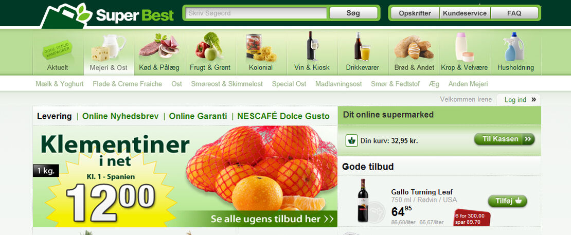SuperBest åbnede som de første i Danmark en onlinebutik med dagligvarer