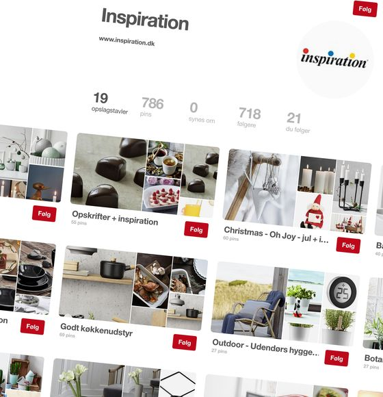 Inspiration is an active user of Pinterest