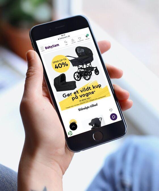 BabySams webshop er designet med fuldt fokus på mobile first