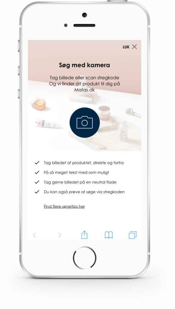 Find a product at matas.dk with visual search